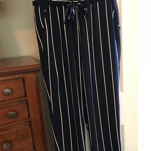 navy and white striped pants.